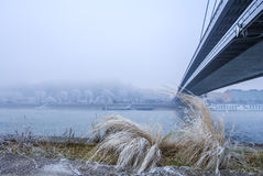 Vue de promenade de Bratislava près de pont Upris national slovaque image stock
