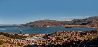 Vue de Puno par le lac Titicaca, Pérou Image libre de droits
