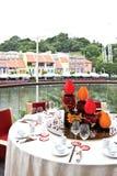 Vue de repas de fleuve de Singapour Photos libres de droits