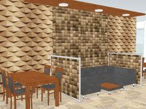 Vue de restaurant avec a avec le panneautage en bois de mur Photos stock