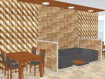 Vue de restaurant avec a avec le panneautage en bois de mur Image stock