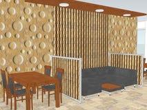 Vue de restaurant avec un modèle de mur intérieur Image libre de droits