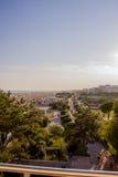 Vue de rivage et de ville de Bibione, coucher du soleil Image libre de droits