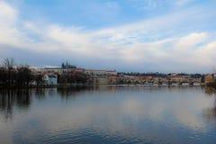 Vue de rivière de Prague Photographie stock