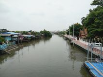 Vue de rivière devant le temple bouddhiste, résidence locale sur le bord de mer sur la rivière images libres de droits