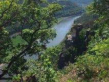 Vue de rivière Elbe de Bastei dans le Suisse Saxe en Allemagne Image libre de droits