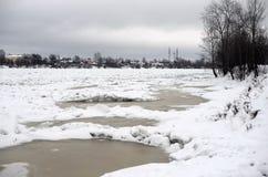 Vue de rivière de Neva à l'hiver photographie stock libre de droits