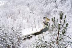 Vue de rivière de Vilnia de l'exposition géologique de Puckoriai à Vilnius, l'exposition la plus élevée en Lithuanie image libre de droits