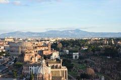 Vue de Rome de l'autel de la patrie image libre de droits
