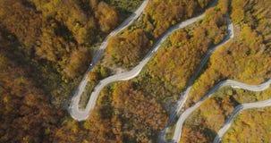 Vue de route de montagne d'automne d'en haut banque de vidéos