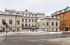 Vue de rue à la construction en hiver Stockholm Photo libre de droits