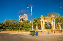 Vue de rue de belle ville de Carthagène, Colombie Photographie stock