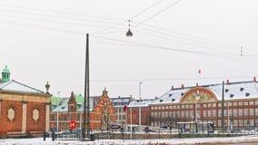 Vue de rue de Slotsholm à Copenhague en hiver Photographie stock