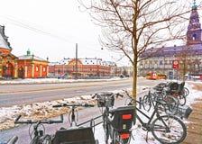 Vue de rue de Slotsholm en hiver Copenhague Photos libres de droits