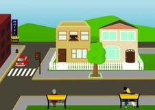Vue de rue de ville Illustration de Vecteur