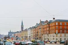 Vue de rue sur la ville Hall Tower de Copenhague en hiver Photographie stock