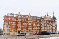 Vue de rue sur le boulevard d'Andersens en hiver Copenhague Photographie stock
