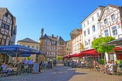 Vue de rue sur Marktplatz à Linz AM Rhein Photos libres de droits