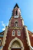 Vue de rzzuschlag évangélique de ¼ d'Evangelische Kirche MÃ d'église dans le jour ensoleillé lumineux photographie stock libre de droits