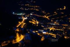 Vue de s-oeil de ` d'oiseau de nuit en Andorre Images libres de droits