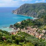 Vue de s-oeil de ` d'oiseau de ville de Monterosso, Cinque Terre, Italie Images libres de droits