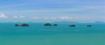 Vue de Samui de KOH et cinq îles Photographie stock