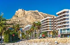 Vue de Santa Barbara Castle dans Alicante, Espagne Image libre de droits