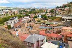 Vue de secteur d'Abanotubani dans la vieille ville de Tbilisi georgia Photos stock