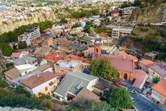 Vue de secteur d'Abanotubani dans la vieille ville de Tbilisi georgia Images stock