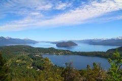 Vue de sept lacs - Cerro Campanario - Bariloche Photo libre de droits