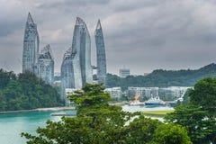 Vue de Siloso de fort vers Singapour Photo libre de droits