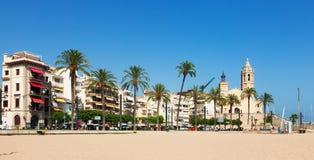 Vue de Sitges de plage Photographie stock