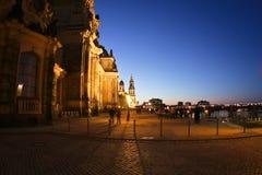 Vue de soirée au centre historique de Dresde Photo libre de droits