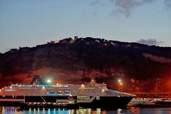 Vue de soirée de château de Montjuic Photos libres de droits