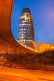 Vue de soirée de Barcelone - Torre agbar Photographie stock libre de droits