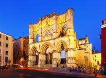 Vue de soirée de basilique de notre Madame de grâce. Cuenca Image stock