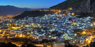 Vue de soirée de Chefchaouen, Maroc Image stock