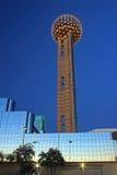Vue de soirée de Dallas du centre Images libres de droits