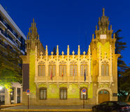 Vue de soirée de musée de couteau à Albacete Photo stock