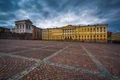 Vue de soirée de place de sénat, à Helsinki, la Finlande photographie stock