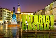 Vue de soirée de Virgen Blanca Square Vitoria-Gasteiz, Espagne photographie stock
