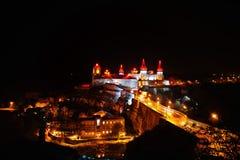 Vue de soirée du château Kamyanets-Podilsky Image stock
