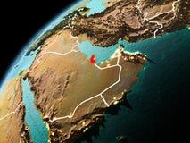 Vue de soirée du Qatar sur terre Photos libres de droits