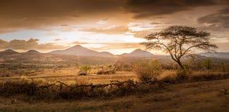 Vue de soirée du territoire de la tribu Bana Photos stock