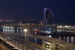 Vue de soirée de l'hôtel W à Barcelone Image libre de droits