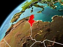 Vue de soirée de la Tunisie sur terre Image stock