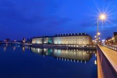 Vue de soirée sur le bureau régional à Wroclaw Images libres de droits