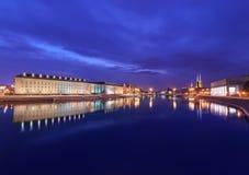 Vue de soirée sur le bureau régional et la vieille ville à Wroclaw, Image libre de droits