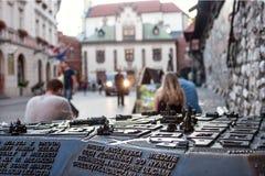 Vue de soirée sur le modèle de la vieille ville de Cracovie sous forme de composition sculpturale Photos libres de droits