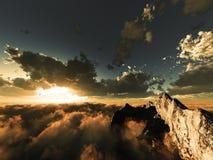 Vue de soirée au-dessus des nuages Photographie stock